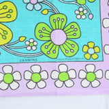 Vintage 1960s Flower Power Cotton Tea Towel - Jasmine - Julia Killingback - Purple detail 2