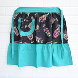 Vintage 1950s Frilled Cocktail Apron- By Coral Sea - Turquoise / Black