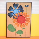Vintage 1960s Large Swedish Hessian Collage Picture / Painting - Flower Power