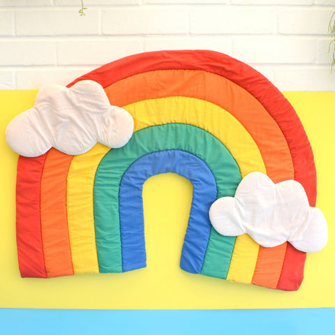 Vintage 1980s Large Padded Rainbow Wall Hanging