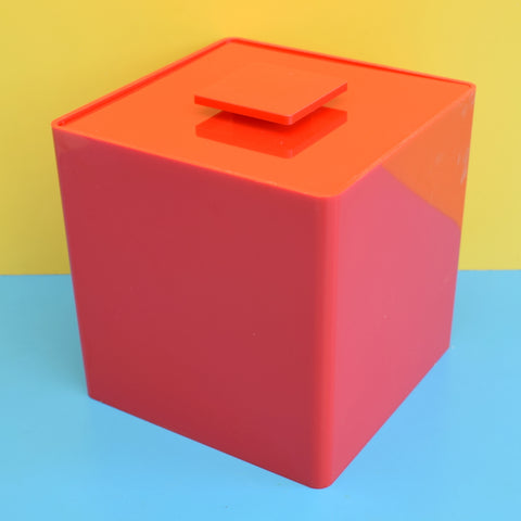 Vintage 1970s Plastic Cube Ice Bucket / Planter - Red