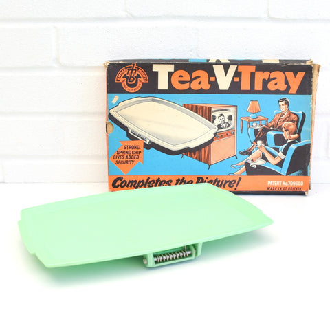Vintage 1950s Clip On Tea V Tray (TV Tray) - Boxed- Green