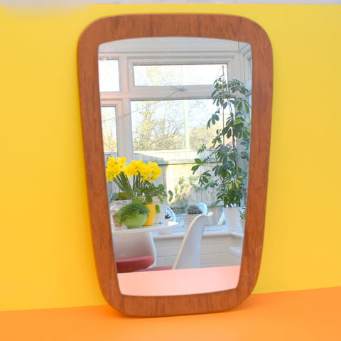 Vintage 1960s Teak Mirror - Lovely Classic Organic Shapes
