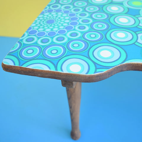 Vintage Pine Folding Low Table - 1960s Geometric Design - Green & Blue