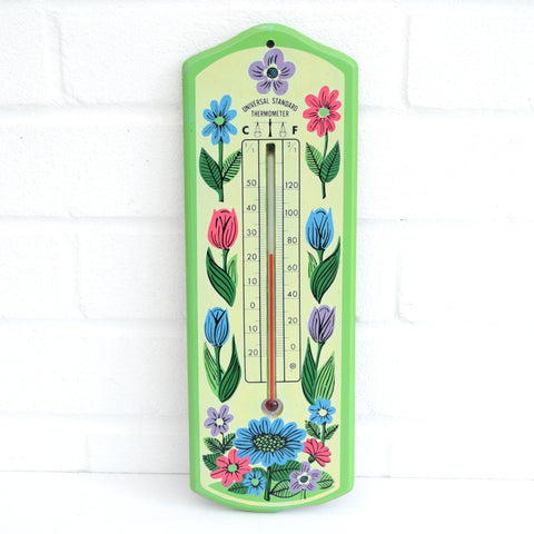Vintage 1960s Flower Power Thermometer - Green