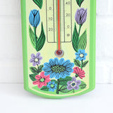 Vintage 1960s Flower Power Thermometer - Green detail