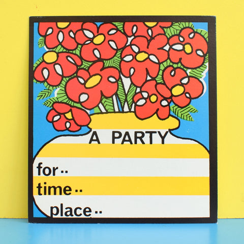 Vintage 1970s American Party Invitations - Flower Power - Multiples - Red & Yellow