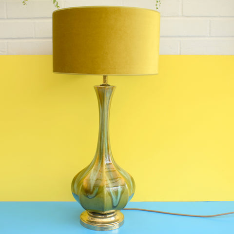 Vintage 1950s Large Danish Drip Table Lamp - Olive Green