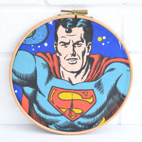 Vintage Medium Fabric Wall Art Circle - Superman- 1970s/ 1980s - Blue, Red