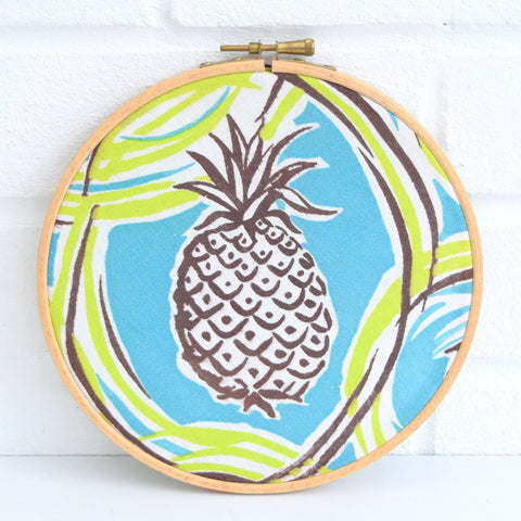 Vintage Medium Fabric Wall Art Circle - Pineapple Print- 1950s - Turquoise, Green