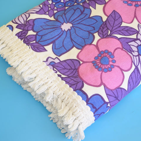 Vintage 1960s Single Bed Cover - Flower Power - Purple