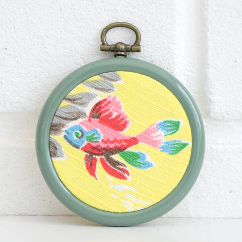 Vintage Fabric Small Wall Art Circle - Fish Design 1950s, Yellow, Pink, Green