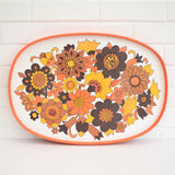 Vintage 1960s Flower Power M&S Tray - Orange