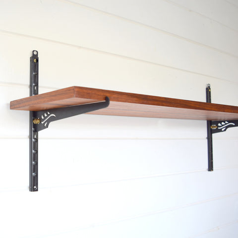 Vintage 1960s Teak & metal Shelf - Fobel Shelv-it Brackets, Black