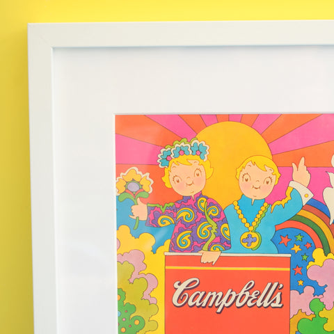 Vintage 1960s Campbells Soup / Circus Advert- Flower Power - Framed