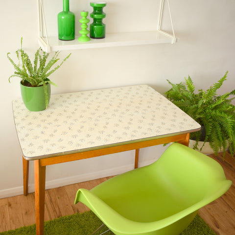 Vintage 1950s Formica Table - Fantastic Printed Formica - Ideal Desk, Black & White