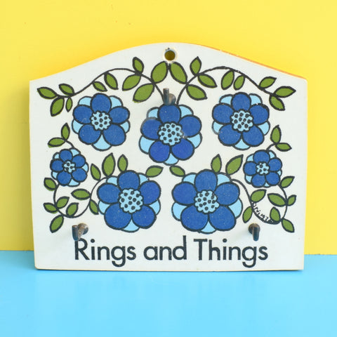 Vintage 1970s Flower Power Rings And Things Hooks - Taunton Vale - Blue
