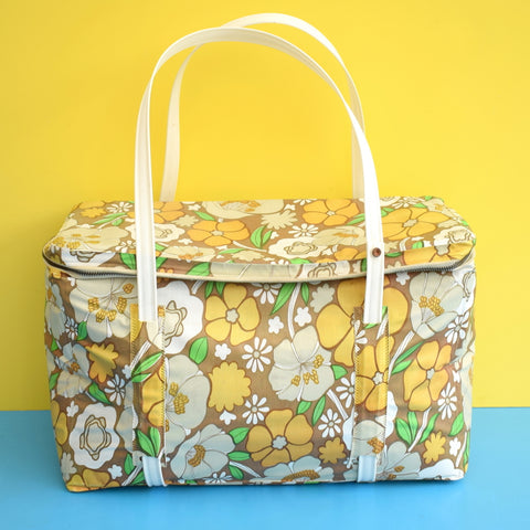 Vintage 1960s Vinyl Cool Bag - Flower Power Design - Brown, Green & Orange