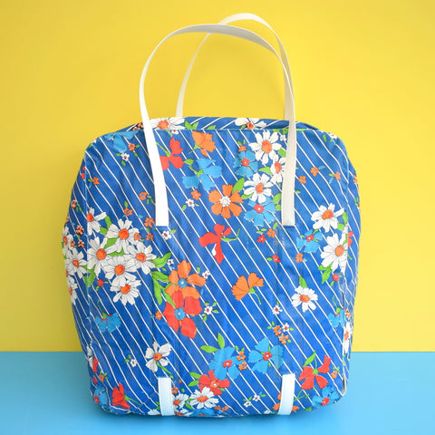 Vintage 1960s Vinyl Cool Bag - Flower Power Design - Blue & Orange