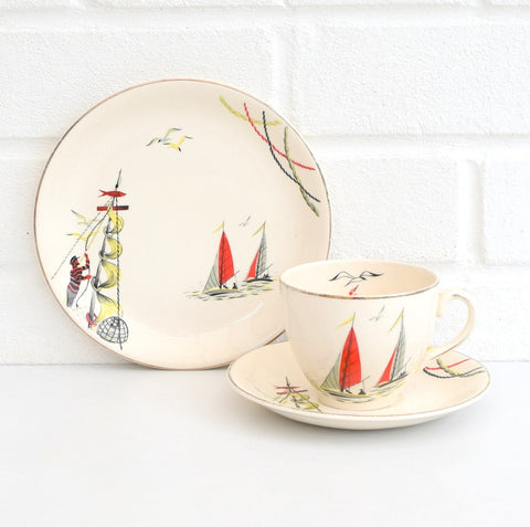 Vintage 1950s Kitsch Alfred Meakin Regatta China Trio - Boats