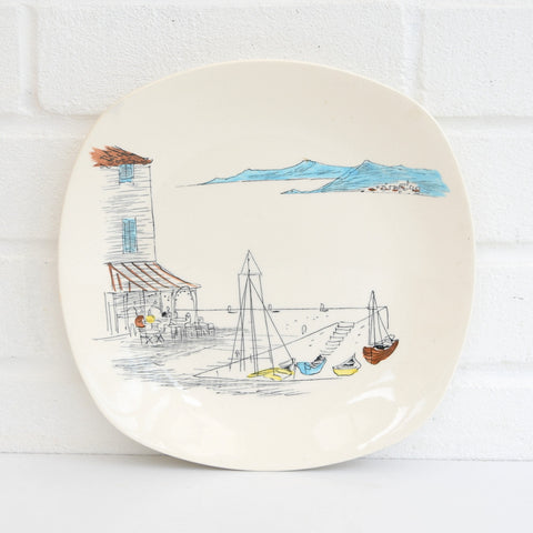 Vintage 1950s Kitsch Midwinter Cannes China Plate, Hugh Casson, Boats