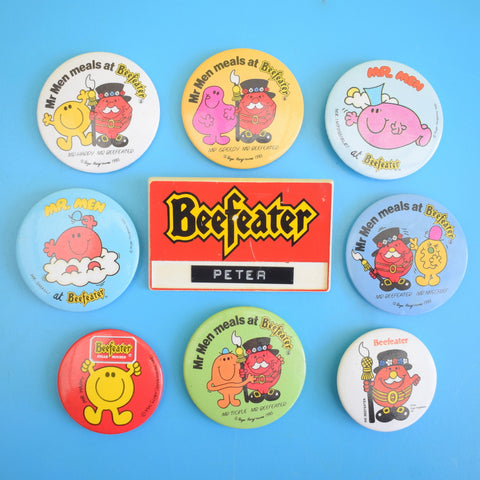 Vintage 1980s Badges - Beefeater Mr Men / Employee