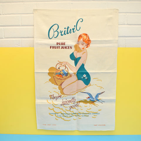 Vintage 1950s Unused Cotton Tea Towel - Britvic Fruit Juice Pin-Up Girl - Ideal To Frame