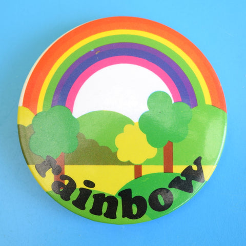 Vintage 1970s Metal Badge - Rainbow Design