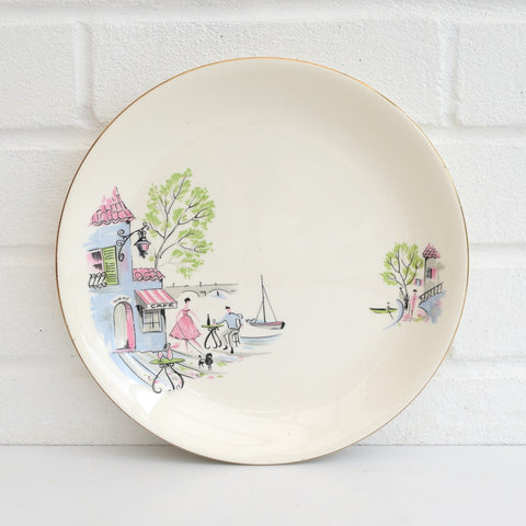 Vintage 1950s Kitsch Alfred Meakin Down by The Seine Plate, Pastel