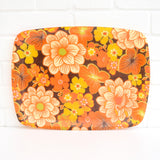 Vintage 1960s Flower Power Fibreglass Tray - Orange