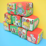 Vintage 1960s Rare Deans Childsplay Toys Soft Fabric Blocks - Lovely Pictures