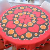Vintage 1970s Swedish , Round Tablecloth - Heart Design - Red , Orange & Brown