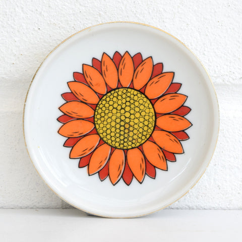 Vintage 1960s Sunflower Flower Power Design Pin Dish, Orange