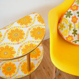 Vintage 1960s Half Moon Side Table - Flower Power - Orange Vinyl