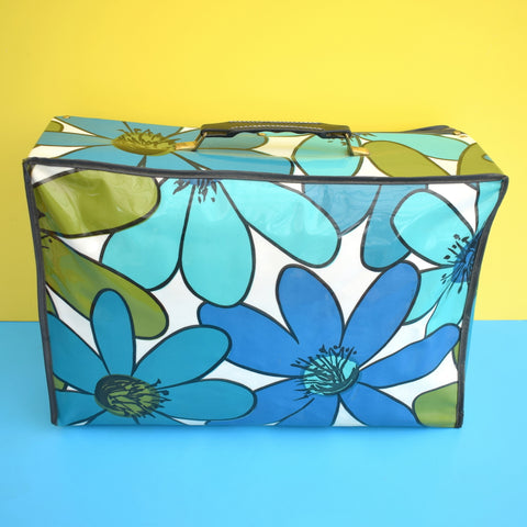 Vintage 1960s PVC Suitcase - Flower Power - Blue & Green