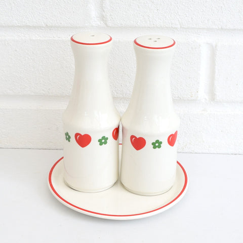 Vintage 1970s Barratts China Hearts & Flowers Salt / Pepper Set, Red & Green