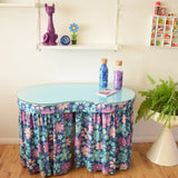 Vintage 1960s Flower Power Kidney Shaped Dressing Table - Purple & Blue