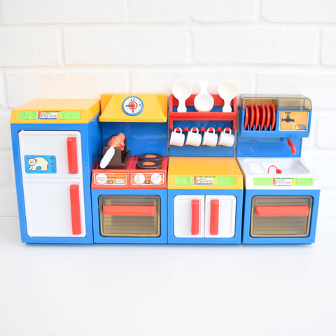 Vintage 1980s Pedigree Playtime Kitchen - Fridge, Cooker, Sink, Cupboard