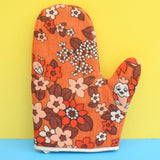 Vintage 1960s Flower Power / Bird Design Oven Glove - Orange