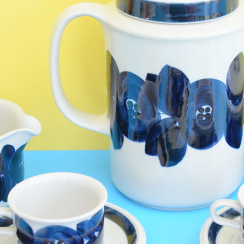Vintage 1960s Arabia Anemone Pattern Coffee Set - Finland - Blue