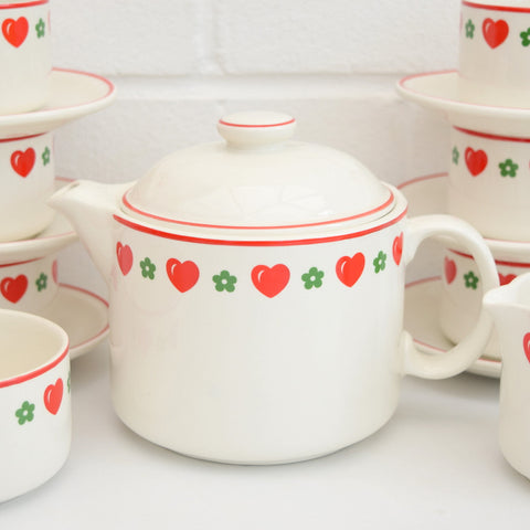 Vintage 1970s Barratts China Heart & Flowers Tea Set, Red & Green