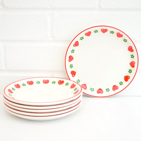 6 Vintage 1970s Barratts China Heart & Flowers Tea plate Set, Red & Green