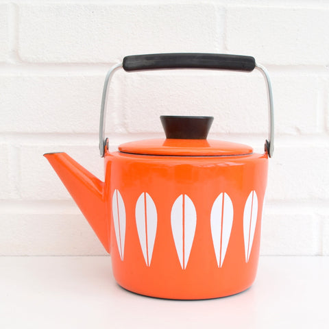 Vintage 1960s Enamel Tea Pot - Cathrineholm of Norway, Orange & White