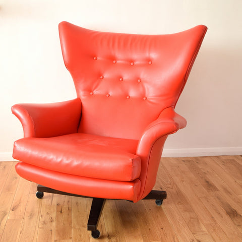 Vintage 1960s G Plan Red Vinyl / Rosewood Sixty Two Easy Chair