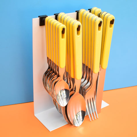 Vintage 1980s Set Italian Cutlery On Stand - Sierra - ABS Plastic Handles - Yellow
