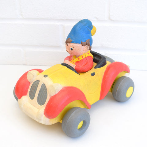 Vintage 1970s Bendy Noddy Toy In His Car, Red, Yellow, Blue