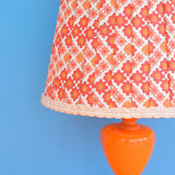 Vintage 1960s Small Orange Table Lamp - Original Flower Power Vinyl Shade, Pink & Orange