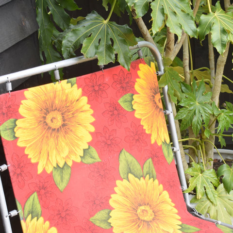 Vintage 1970s Garden Sun Lounger - Yellow & Red Flower Power