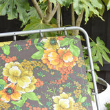 Vintage 1970s Garden Sun Lounger - Yellow, Green, Orange & Brown Flower Power