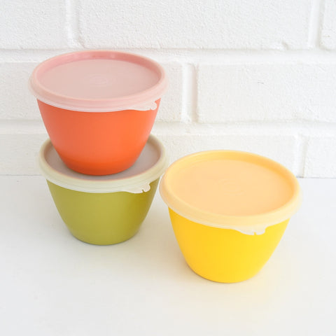 Vintage 1970s Plastic Tupperware Small Lidded Tubs x3 - Orange, Yellow & Green
